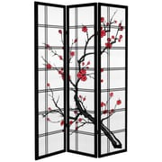 Oriental Furniture 71'' x 47.25'' Tall Blossom 3 Panel Room Divider; Black
