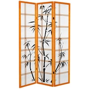 Oriental Furniture 71'' x 47.25'' Bamboo Tree Tall  3 Panel Room Divider; Honey