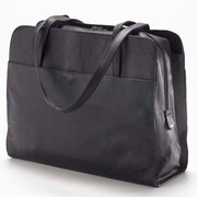 Clava Leather Colored Vachetta Three Section Tote Bag; Black