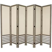 Oriental Furniture 67'' x 85'' Open Lattice 6 Panel Room Divider; Burnt Grey
