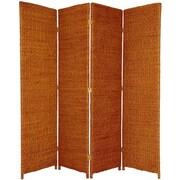 Oriental Furniture 71'' Tall Rush Grass Woven 4 Panel Room Divider; Honey