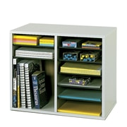 Safco Products Wood Adjustable-Compartment Literature Organizer (Desktop); Gray