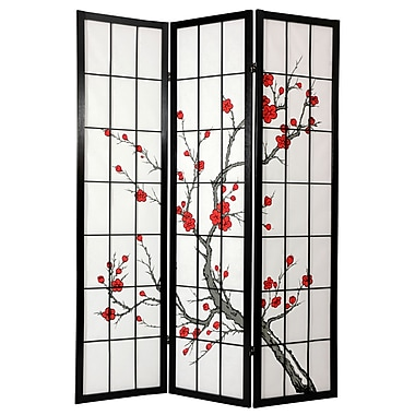 Oriental Furniture 72'' x 42'' Cherry Blossom Decorative 3 Panel Room Divider