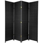 Oriental Furniture 71'' x 57'' All Weather 4 Panel Room Divider; Black
