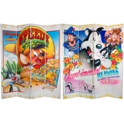 Oriental Furniture 71'' x 63'' Tall Double Sided Speedy and Pepe Le Pew 4 Panel Room Divider