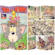 Oriental Furniture 71'' x 47.25'' Tall Double Sided Tom and Jerry 3 Panel Room Divider
