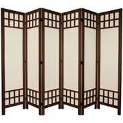 Oriental Furniture 67'' x 85'' Window Pane 6 Panel Room Divider; Burnt Brown