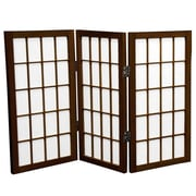 Oriental Furniture 26'' x 30'' Window Pane Shoji 3 Panel Room Divider; Walnut