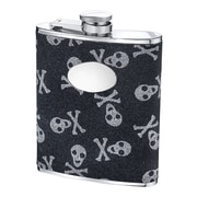 Wilouby 6 Oz. Skull and Bones Glitter Flask
