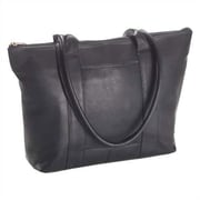 Clava Leather Colored Vachetta Zip Top Shopper Tote Bag; Black