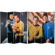 Oriental Furniture 71'' x 63'' Star Trek Tall Double Sided Kirk and Spock 4 Panel Room Divider