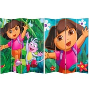 Oriental Furniture 71'' x 63'' Tall Double Sided Dora the Explorer 4 Panel Room Divider