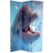 Oriental Furniture 72'' x 64'' Double Sided Dolphin and Clownfish 3 Panel Room Divider