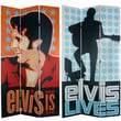 Oriental Furniture 84'' x 51'' Elvis Presley Tall Double Sided Lives 3 Panel Room Divider