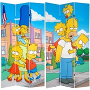 Oriental Furniture 84'' x 51'' Tall Double Sided Simpsons Kids 3 Panel Room Divider
