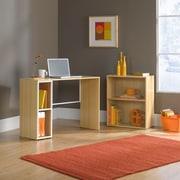 Sauder Treble Studio Edge Writing Desk with Bookcase; Rice and White Oak