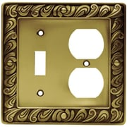 Franklin Brass Paisley Single Switch & Duplex Wall Plate; Tumbled Antique Brass