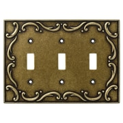 Brainerd French Lace Triple Switch Wall Plate; Burnished Antique Brass
