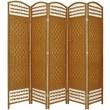 Oriental Furniture 67'' Tall Fiber Weave 5 Panel Room Divider; Light Beige