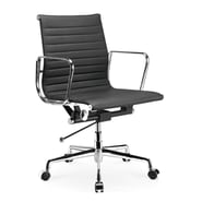 Manhattan Comfort Metro Mid-Back Leather Office Chair with Adjustable Height; Black