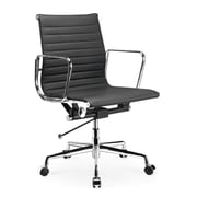 Manhattan Comfort Metro Mid-Back Leather Adjustable Office Chair; Black
