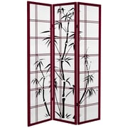 Oriental Furniture 71'' x 47.25'' Bamboo Tree Tall  3 Panel Room Divider; Rosewood