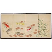 Oriental Furniture 24'' x 48'' The 5 Fish Chinese Painting 4 Panel Room Divider