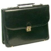 Bond Street Leather Briefcase; Black