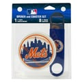 Boelter MLB Bottle Opener & Coaster Set; New York Mets