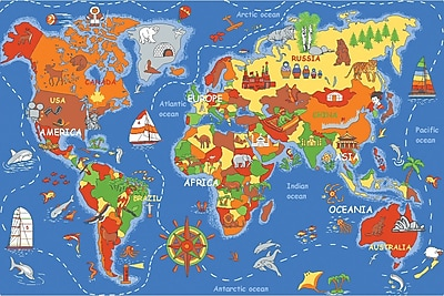 Learning Carpets Play Carpet Where In The World Blue Indoor/OutdoorArea Rug; 3' x 6'8'' WYF078276067636