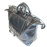 Floto Imports Tack 16'' Leather Travel Duffel; Black