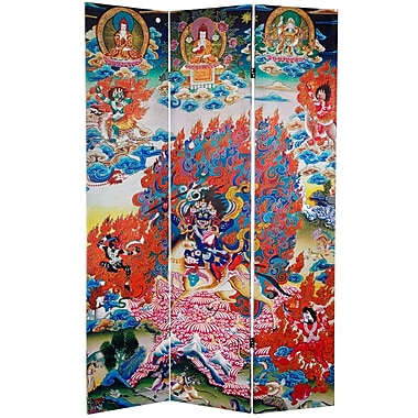 Oriental Furniture 71'' x 47.25'' Palden Lhamo Double Sided 3 Panel Room Divider