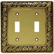Franklin Brass Paisley Double Switch Wall Plate; Tumbled Antique Brass