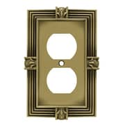 Franklin Brass Pineapple Single Duplex Wall Plate; Tumbled Antique Brass