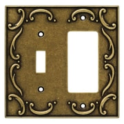 Brainerd French Lace Single Switch/Decorator Wall Plate; Burnished Antique Brass