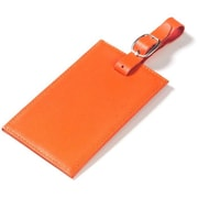 Clava Leather Colored Leather Oversized Rectangular Luggage Tag; Orange