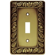 Franklin Brass Paisley Single Switch Wall Plate; Tumbled Antique Brass