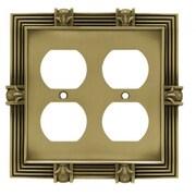 Brainerd Pineapple Double Duplex Wall Plate; Tumbled Antique Brass