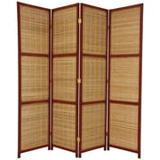 Oriental Furniture 70.75'' x 58'' Window Woven 4 Panel Room Divider; Red Brown