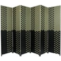 Oriental Furniture 70.75'' x 105'' Woven Fiber 6 Panel Room Divider; Olive / Black