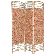 Oriental Furniture 67'' x 47.25'' Recycled Magazine 3 Panel Room Divider