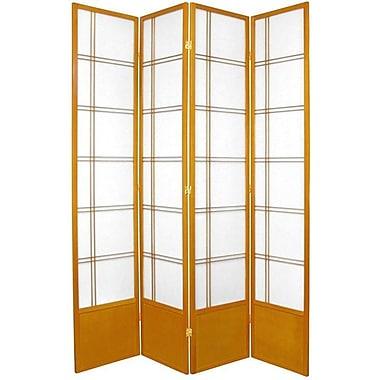 Oriental Furniture 83.5'' x 56'' Double Cross Shoji 4 Panel Room Divider; Honey