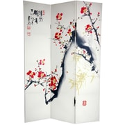 Oriental Furniture 72'' x 48'' Double Sided Cherry Blossoms and Love 3 Panel Room Divider