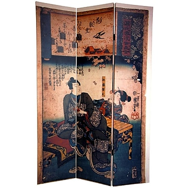 Oriental Furniture 72'' x 48'' Japanese Double Sided Figures 3 Panel Room Divider