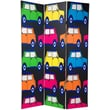 Oriental Furniture 70.88'' x 47'' Double Sided Colorful Cars 3 Panel Room Divider
