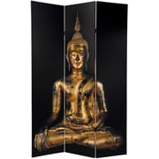 Oriental Furniture 70.88'' x 47.25'' Double Sided Thai Buddha 3 Panel Room Divider