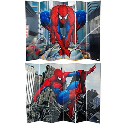 Oriental Furniture 71'' x 94.5'' Tall Double Sided Spider-Man Web-Slinger 6 Panel Room Divider WYF078275692960