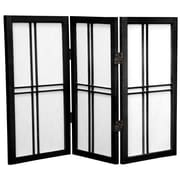 Oriental Furniture Double Cross Shoji 26'' x 30'' 3 Panel Room Divider; Black