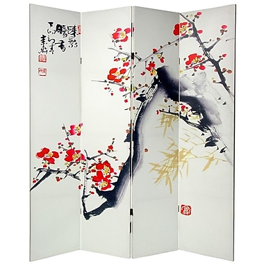 Oriental Furniture 70.88'' x 63'' Double Sided Cherry Blossoms and Love 4 Panel Room Divider