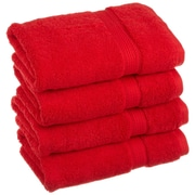 Simple Luxury Superior Egyptian Cotton Hand Towel (Set of 4); Red